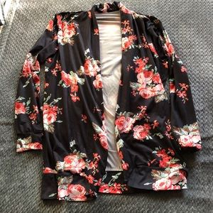 Tops - Black floral cardigan